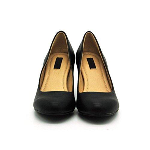 QPYC Tondo Comode scarpe da donna singole Scarpe Bocca poco profonda Tacchi alti femminili Belle con set di piedi Scarpe da donna 38