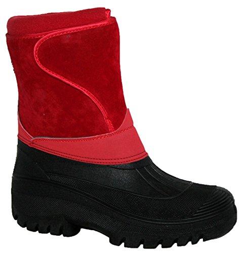Regenfeste, stabile und warme Damenstiefel zum Reiten und für den Stall, geeignet für Regen, Schnee und Winter, Rot - Rotes Wildleder - Größe: 39 (Kinder Reiten Stiefel)