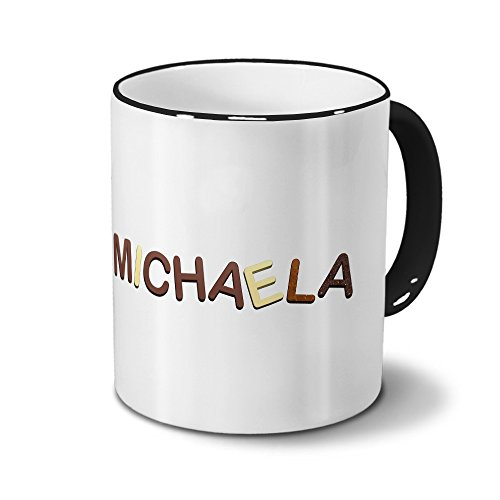 printplanet Tasse mit Namen Michaela - Motiv Schokoladenbuchstaben - Namenstasse, Kaffeebecher, Mug, Becher, Kaffeetasse - Farbe Schwarz
