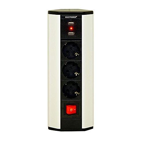 HUX POWER® 3 -er Ecksteckdose mit 2 x USB und EIN/AUS Schalter EL4603KU