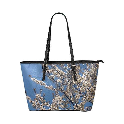 Blaue Himmel Frühlings Blüten Blume große weiche lederne tragbare Handgriff Handhandtaschen Taschen kausale Handtaschen mit Reißverschluss Schulter Einkaufen Geldbeutel Gepäck für die Arbeit der Dame - Coach Große Hobo