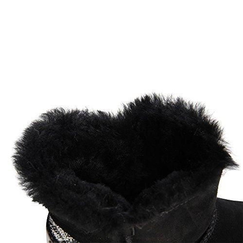 topschuhe24 665 Damen Leder Boots Stiefeletten Schwarz