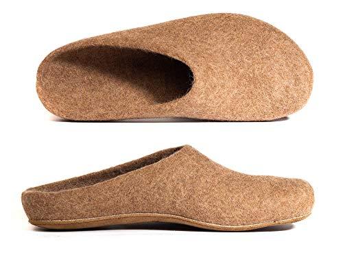 MagicFelt Rare Wools Filzpantoffeln AR 17729 aus Reiner Kamel-Wolle - Unisex-Erwachsene - anatomisch geformt - in Beige (Kamel 4870), 41 EU