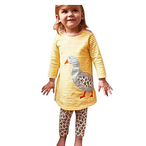 JERFER Mädchen Crewneck Langarm Casual Karikatur Stickerei Party T-shirt Kleid Kinderkleider Festliche 2-8 T/Jahre (B, 6T) (Kleid T-shirt Weißes)