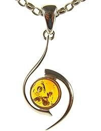 Nova Silver Amber Art Dynasty Amber Pendant with 18 Inch Snake Chain yBJFFI