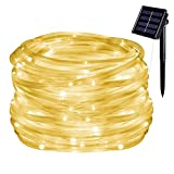 Danolt 39.3ft 100 LED Solar Lichterschlauch, wasserdichte Outdoor-Lichterketten Dekoration für Weihnachten, Halloween, Gärten, Hinterhöfe, Patio, Hochzeiten, Partys.