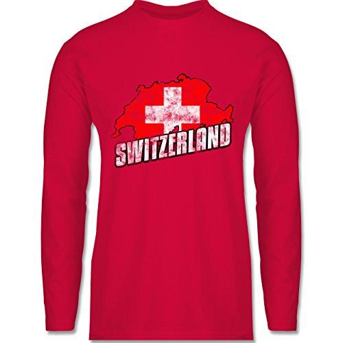 Shirtracer Fußball-WM 2018 - Russland - Switzerland Umriss Vintage - Herren Langarmshirt Rot
