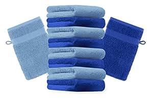 10er Pack Waschhandschuhe Waschlappen Premium Farbe Royal Blau & Hell Blau Größe 16x21 cm Kordelaufhänger 100% Baumwolle