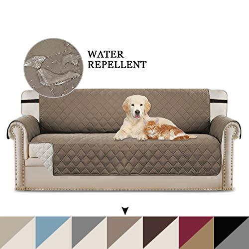 BellaHills Sofabezüge Sofabezüge Reversible Gesteppte Möbelschutzfolie, wasserabweisend, verbesserter Couch Shield mit elastischen Riemen, Anti-Rutsch-Schaum, Micro-Stoff-Pet-Cover-Sofa, Taupe/beige -