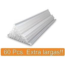Pack 60 barras de silicona caliente transparente EXTRA LARGAS (7x195mm). Más silicona que en las barras convencionales. Pegamento termofusible perfecto para manualidades y trabajos de bricolaje. El mejor recambio para tu pistola de silicona.