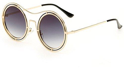 JUNHONGZHANG Mode Sonnenbrille Retro Kreisförmige Rahmen Metall Sonnenbrille Reflektierende Farbe Film Sonnenbrille Sonnencreme Sonnenbrille, Gold Und Schwarzer Kreis Mit Asche