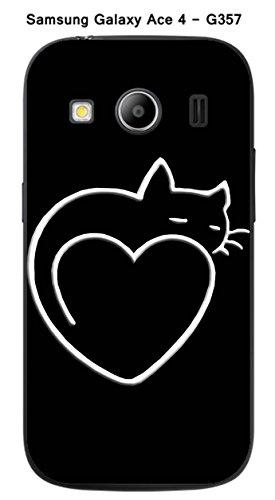 Coque TPU gel souple Samsung Galaxy Ace 4 - G357 design Chat coeur fond blanc