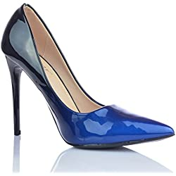 Damen High Heels Stiletto Pumps Ombre Heels Abendschuhe Lack-Optik Glanz EUR 35 Blau