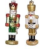 Unbekannt Nussknacker/Weihnachtsbaumkugeln aus Glas, traditionelles Design, 13 cm, Rot, Grün, Gold, Weiß, 2 Stück