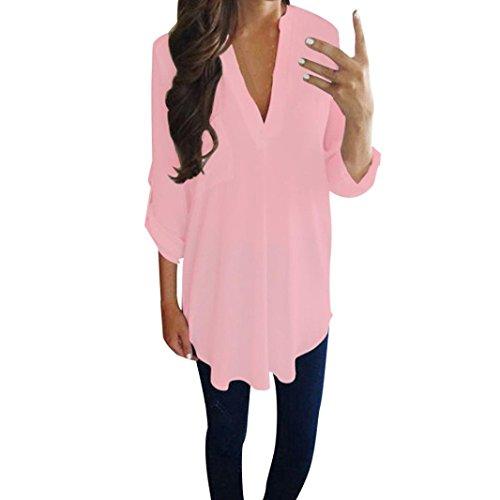 Blusen Damen Lässig Chiffon Shirt Hemd Sexy Pullover Langarm V-Ausschnitt T-Shirt Frauen Bluse Oberseiten Streetwear Sweatshirt,ABsoar