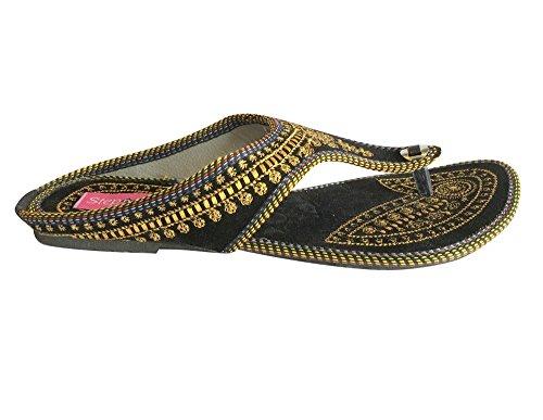 N Step a Sandali stile Jaipuri scarpe Punjabi Jutti Khussa scarpe Casual Shoes Nero (nero)