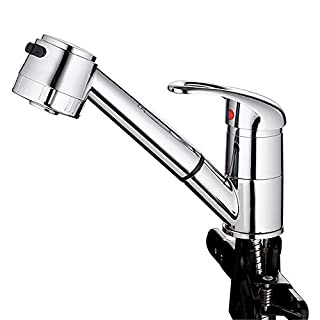 AUSWIND Spout Out Kitchen Faucet Single Handle Pull Down Chrome Finish Round Head by AUSWIND