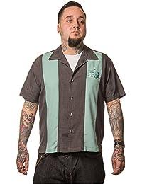 Steady Clothing Hombre Vintage Bowling camisa Tiki–The Mickey Retro Bolos Camiseta Gris/Verde