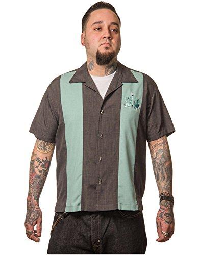 Steady Clothing Herren Vintage Bowling Hemd Tiki - The Mickey Retro Bowling Shirt Grau/grün XL - Xl Retro Bowling Shirt
