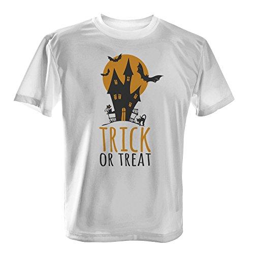 ren T-Shirt von Fashionalarm   Spaß & Fun Shirt mit Spruch   Hexenhaus mit Mond Fledermaus Katze   Kostüm Verkleidung Halloween Süßes oder Saures Horror Oktober Reformationstag, Farbe:weiß;Größe:XXL (Reformationstag Kostüme)