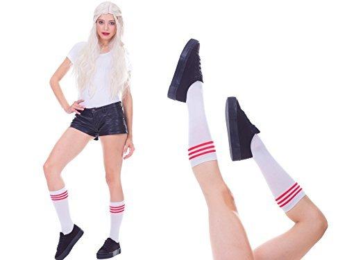 damen, extra lang, overknee mit Streifen kniestrümpfe mädchen, sport oder elegant, Winter. (Weiß mit Rot Streifen(Kurz)) (Weiße Und Rote Socken)