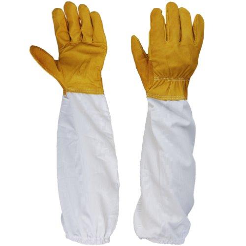 Preisvergleich Produktbild Paar Schutzhandschuhe Bienenzucht,  Bienenhaltung mit Belüftete langen Ärmeln (Gelb und Weiß)