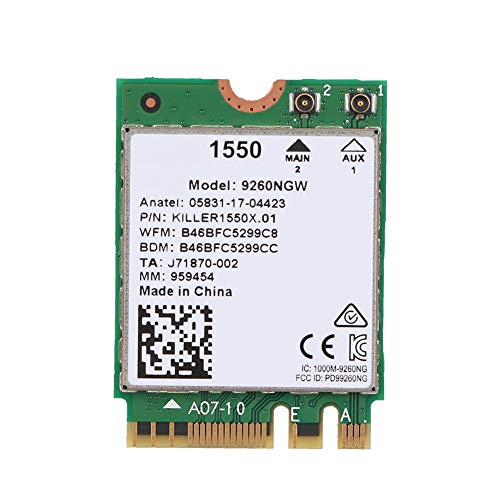 ASHATA Netzwerkkarte,Wireless-Netzwerkkarte für Killer 1550AC für Windows 10 2,4 G & 300 MBPS / 5 G & 1,73 Gbit/s, Bluetooth 5.0-Netzwerkadapterkarte für Laptops Express-bluetooth-notebooks