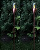 BUVTEC 2er-LED-Solar-Gartenfackel-Set, Trendfarbe Kupfer, ca.110 cm x 9 cm 1 amber LED, mit Solarpanel