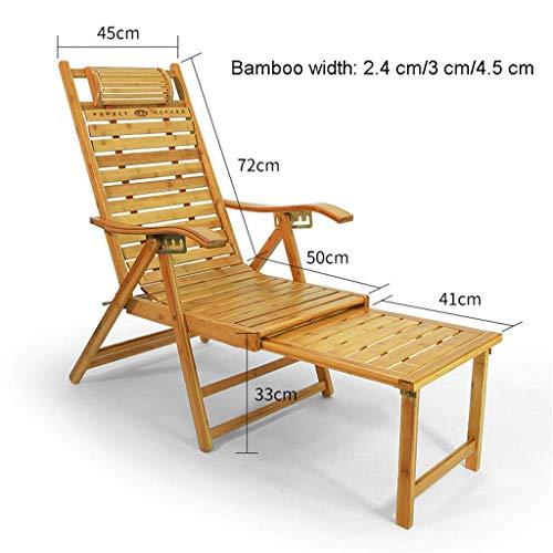 LYDB Sonnenliege Patio Liegestuhl, Bambus mit Teleskopfußpedal Liegestuhl Sonnenliege Garten Terrasse Schwerkraft Stuhl (Größe: Bambus 4,5 cm) - Bambus-stuhl-abdeckung