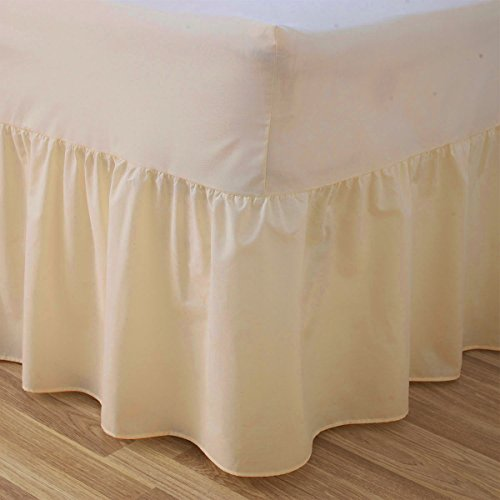 Luxury Plain Dyed Poly Cotton Fitted Valance Sheet Bed Multi Colour Cover D K (King, Ivory)