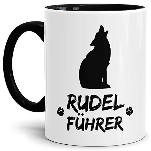 Tassendruck Wolf-Tasse Rudelführer Innen & Henkel Schwarz/Hunde-Tasse/Tasse mit Spruch/Schön / Mug/Cup Qualität - 25 Jahre Erfahrung