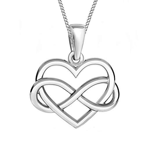 Herz Unendlichkeit Anhänger mit Kette 925 Echt Silber Mädchen Damen Kinder Halskette (2) Silber, 50)