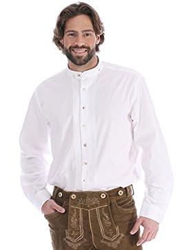 Almsach Trachtenhemd Pfoad Klassiker Stehkragen Bardo Weiss