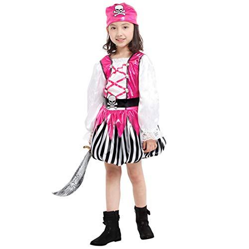 Neuheit Kreativ Kind Kostüm - Halloween Junge Mädchen Pirat Kinderkostüm, ideal für Karneval, Halloween und Themen Partys usw.(Beinhaltet Nicht: Waffe),1#,Height:120~130CM (Piraten Waffen Kit)