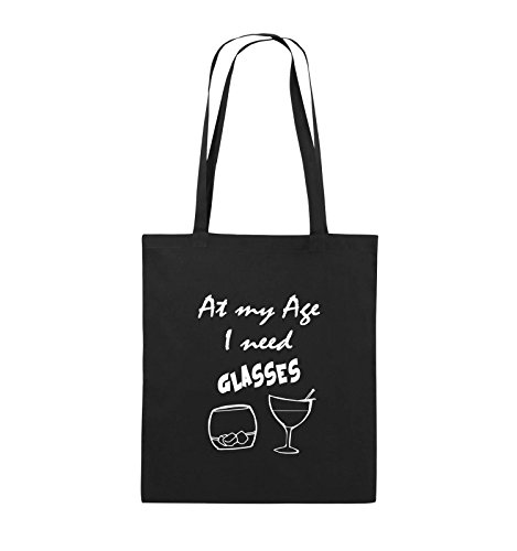 Comedy Bags - At my Age I need GLASSES - Jutebeutel - lange Henkel - 38x42cm - Farbe: Schwarz / Silber Schwarz / Weiss