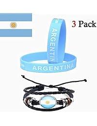 f556e785bfed Beito Argentina Pulseras de la Bandera Conjunto de 2 Piezas Pulsera de  Silicona y una PU