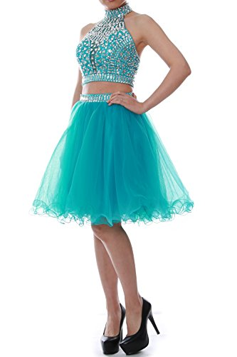 MACloth Women Two Piece Halter Tulle Short Prom Dress Homecoming Party Ball Gown Green