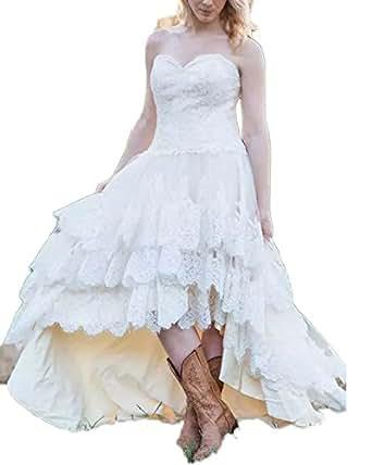 CoCogirls Western Land Spitze Hochzeitskleid Hi-Low Hoch