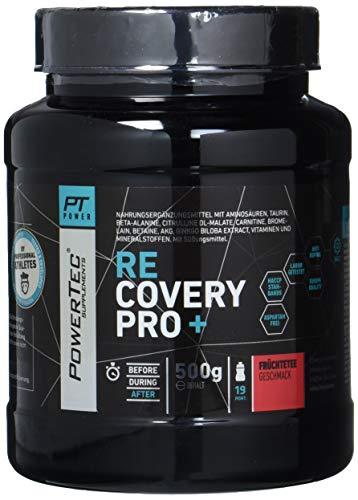 PowerTec SUPPLEMENTS Recovery Pro+ - Post-Workout Shake mit Aminosäuren, Glutamin, Magnesium und Vitaminen für eine rasche Regeneration - 500g (Früchtetee)