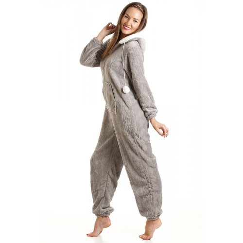 - 41cvGXh0RaL - Camille Womens Ladies Luxury Super Soft Fleece Hooded All In One Onesie Pyjama