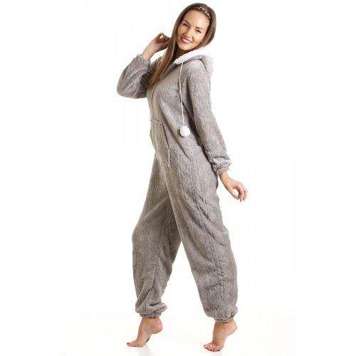 - 41cvGXh0RaL - Camille Womens Ladies Luxury Super Soft Fleece Hooded All In One Onesie Pyjama