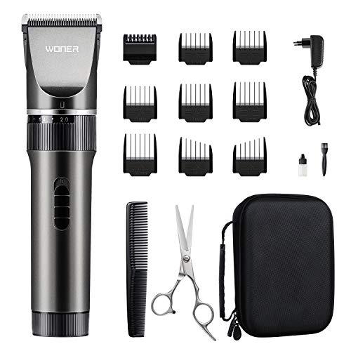 WONER Haarschneidemaschine Profi Männer Haarschneider für Akku-und Netzbetrieb, 35 Längeneinstellungen, Läuft Ziemlich Leise, Bartschneider Langhaarschneider MEHRWEG