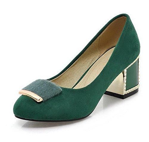 AllhqFashion Femme à Talon Correct Dépolissement Tire Rond Chaussures Légeres Vert