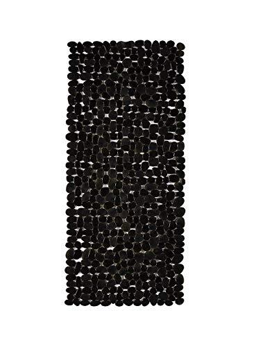 DomoWin Badewannenmatte, Badematte mit 167 Saugnäpfen Rutschfeste Badewanneneinlage Duschmatte Steinoptik Modern 88 x 40 cm (Schwarz, 88 x 40 cm)