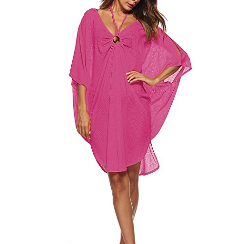 Trada Reine Farbe Beach Strickjacke, Frauen Baden Vertuschen Bikini Badeanzug Bademode Crochet Smock Beach Vertuschen Beach Poncho Cardigan Bikini Cover up Kimono Cardigan (Free, Hot Pink) -