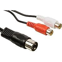 Cable Stop - Cavo corto da 20cm, con 5perni DIN, spina maschio per spina doppia, adattatore per femmina RCA, colore: rosso/bianco