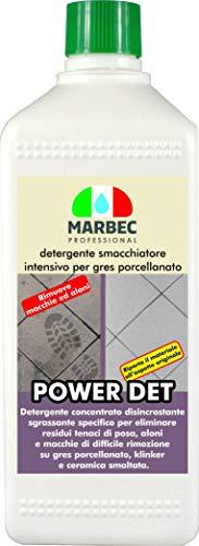 Marbec - Power DET 1LT   Detergente disincrostante smacchiatore intensivo per gres porcellanato.