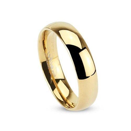 Tapsi´s Coolbodyart®| Klassischer Partner Ehe Ring Edelstahl 5mm Breit Gold Poliert 47(15)