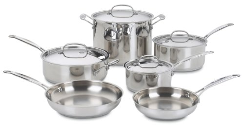 Cuisinart 77-10 Chef's Classic Stainless-Steel 10-Piece Cookware Set