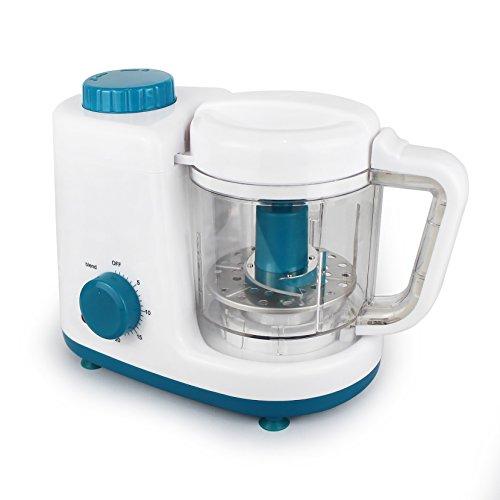 Leogreen - Baby-Küchenmaschine, Mixer für Babynahrung, Weiß/Blau, Funktion: 2 in 1 Dampfgarer und Mixer, Spannung: 220-240 V - 2